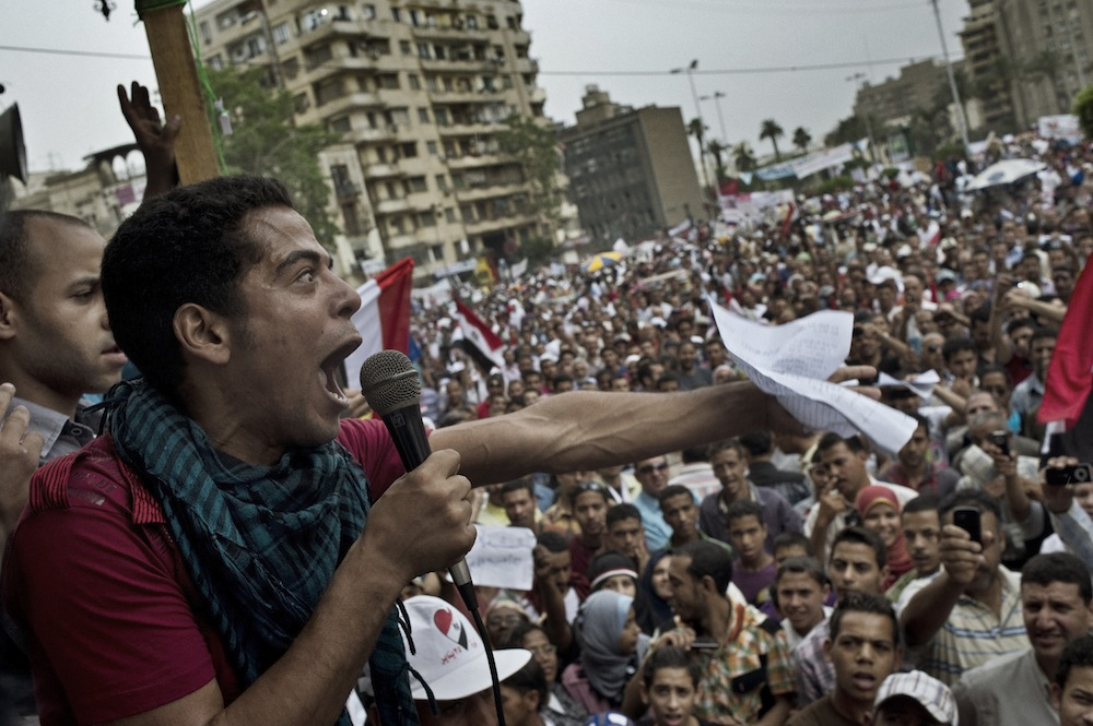 A man shouts demands from a stage on the edge of Tahrir Square during a protest dubbed the Second Revolution on May 27, 2011. Tahrir Square continues to be the stage for Egyptian expression as the country hurtles through the process of democratic transition. But some activists worry that the revolution has been hijacked by whoever has the loudest voice.