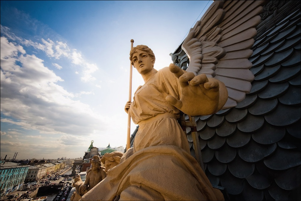 Sculpture of the goddess Nika on the roof of the building of the St Petersburg Mutual Credit Society