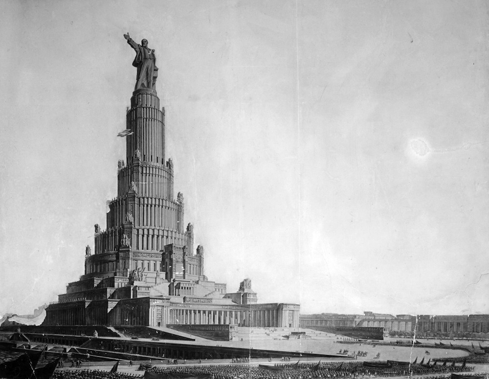 The cathedral was to have been replaced by a Palace of Soviets, a grandiose building involving a soaring tower of 420 m. (1,350 ft.), but its construction was abandoned in connection with the beginning of World War II.