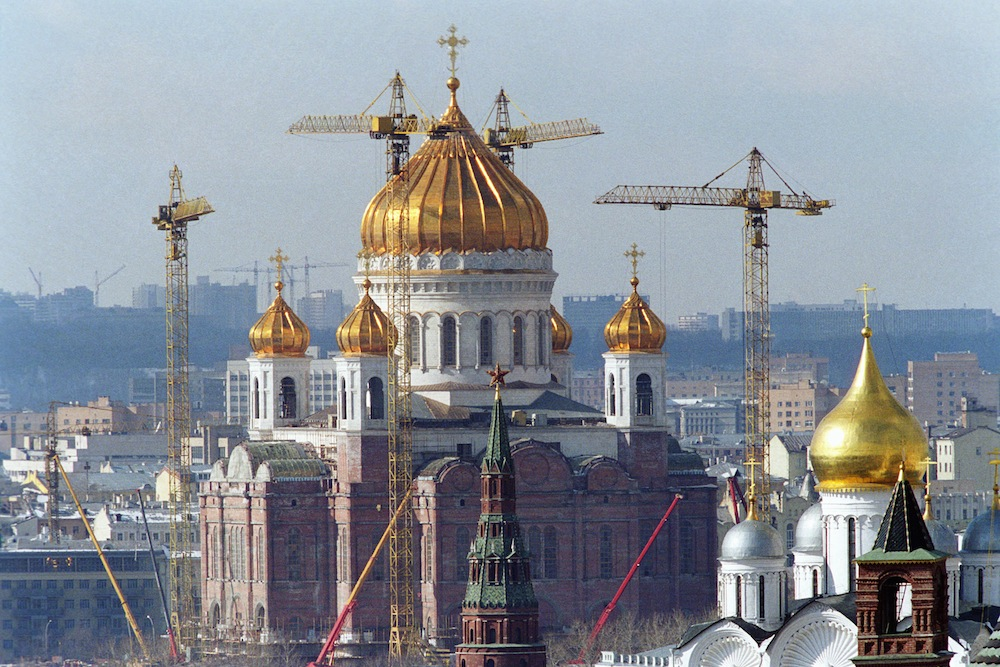 The reconstruction of the Cathedral of Christ the Savior began in 1995. Within two years, the familiar 19th-century outlines had reappeared.