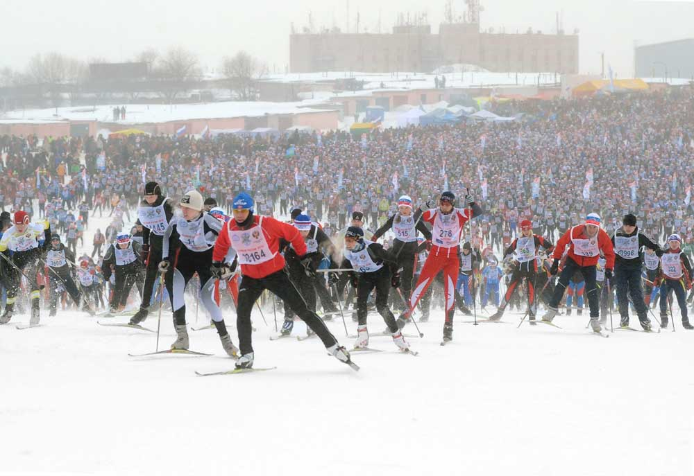 "The annual cross-country ski race ""Moscow Ski Track""."