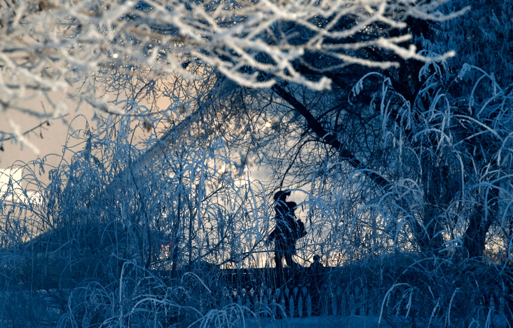 An woman makes her way along a hoar-frosted embankment during an early morning walk in central Moscow.