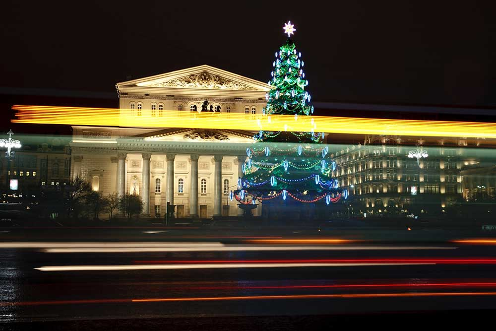 The Christmas tree opposite of the Bolshoi Theatr in Moscow