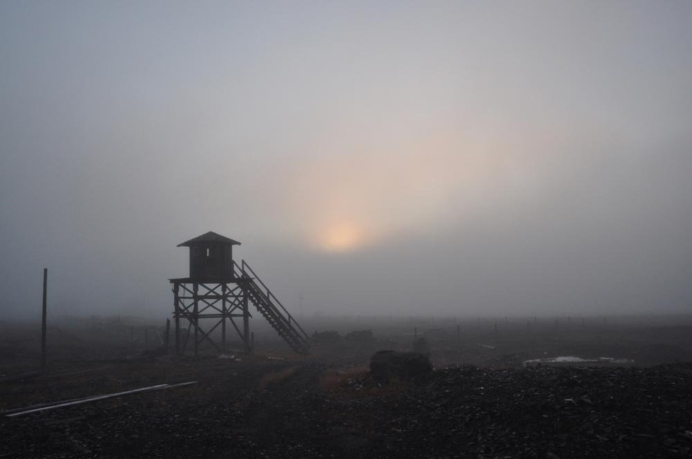 These rigs were once used to monitor military supply depots on Cape Schmidt. The military left, but the rigs remained.
