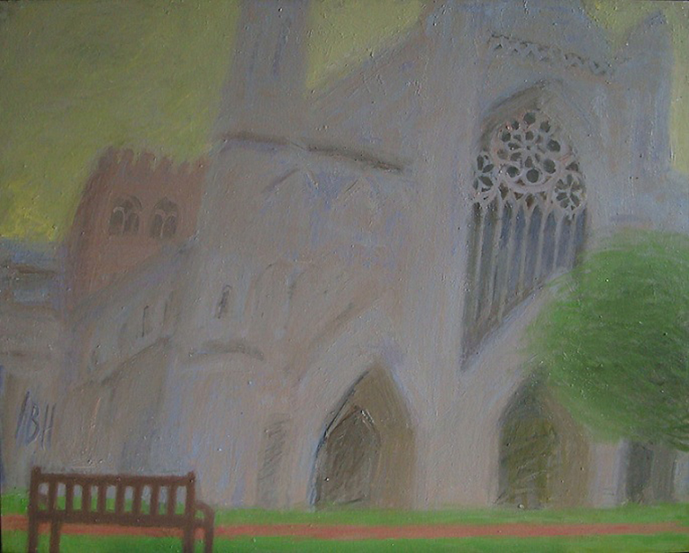 "Cathedral, 2011. Oil on canvas 61x76 cmIn the series of painting ""Britain's rainy silhouette"" Veronica Leotieva presents her vision of british landscapes full of fog, wind and rain.  This world is misty and laconic at the same time."
