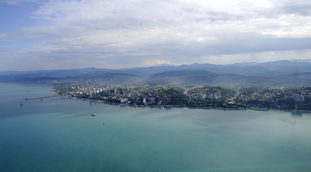 A helicopter view of the city of Sochi.