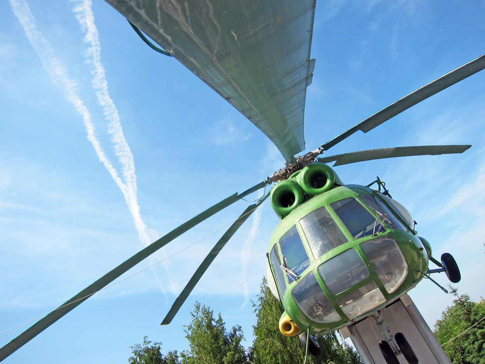 The city of Cheboksary has a helicopter in its square to commemorate the war in Chechnya.