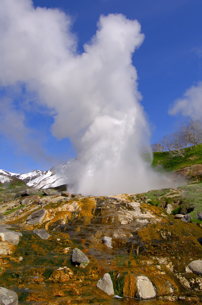 "The primary attractions include twelve active volcanoes, thermal lakes, waterfalls and geysers. Pictured is the so-called ""Giant Geyser."""