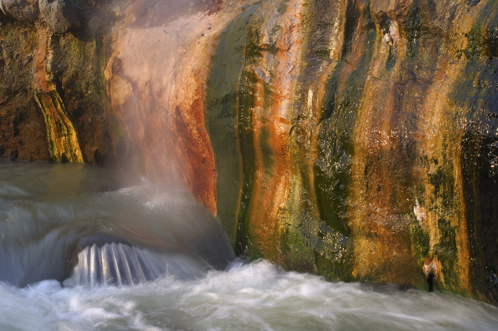 This iridescent waterfall appeared due to the hot springs' water, which creates a propitious environment for varicoloured sargassa.