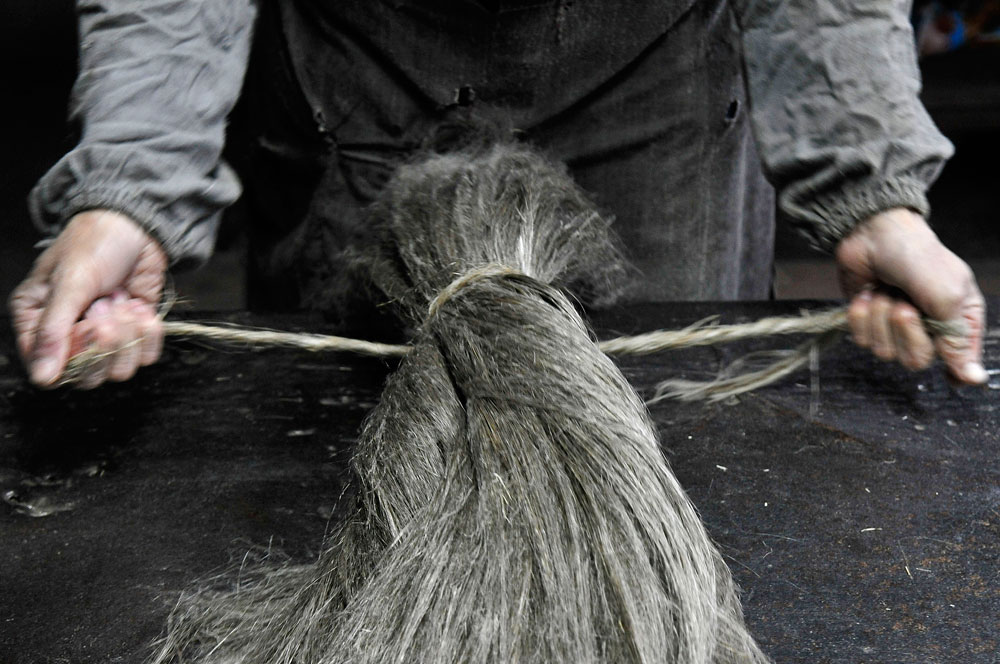Next the fibers are heckled: the short fibers are separated with heckling combs by 'combing' them away, to leave behind only the long, soft flax fibers.