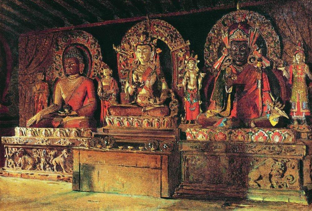 Estátuas dos três principais deuses budistas, Monastério de Chingachelim, Sikkim