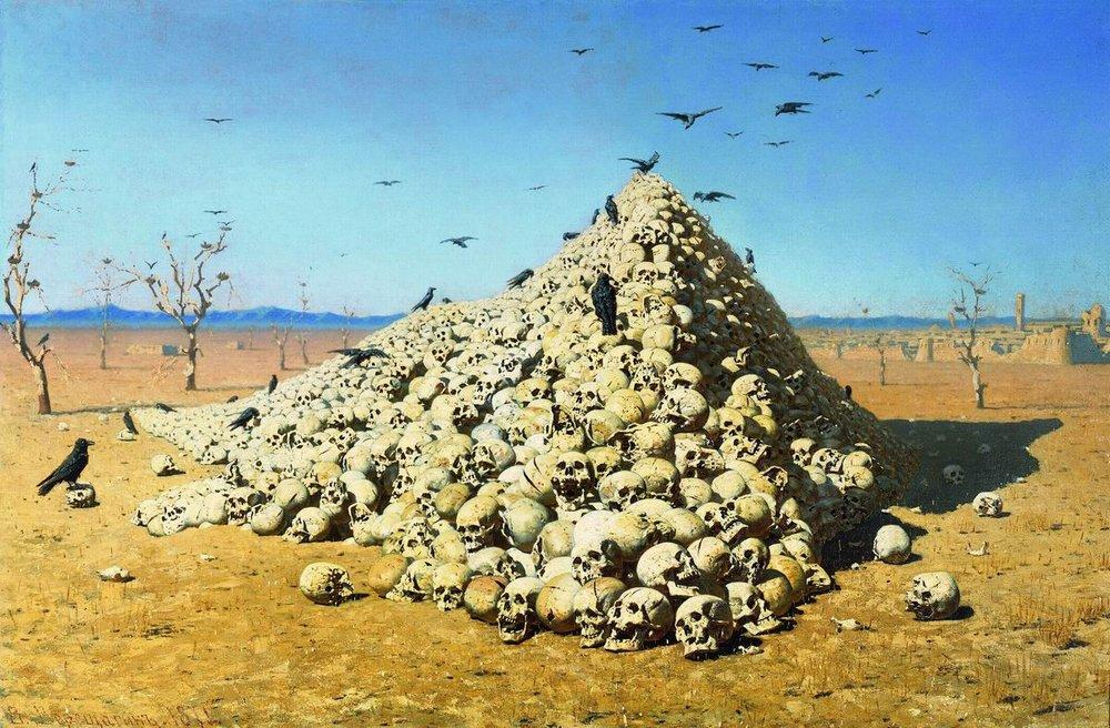 "Apotheosis of the war, 1871 // He also wrote literary works: autobiographical prose, memoirs, travel essays, and articles about art, and used the press as a medium of expression. His articles calling for the cessation of war acquired special resonance. Vereshchagin's authority as a ""fighter against war"" was such that he was a candidate for the first ever Nobel Peace Prize, awarded in 1901."