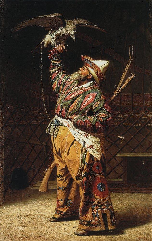 Caçador rico do Quirguistão com um falcão, 1871.