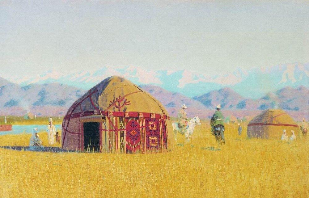 Quirguistão, Yurts à beira do rio Chu, 1875.