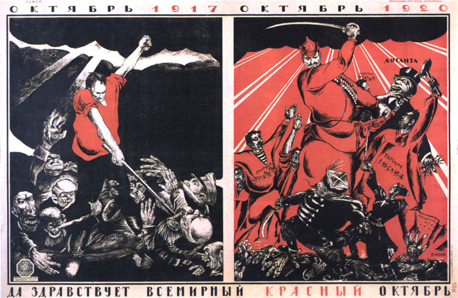 "October 1917 - October 1920. Viva the universal Red October! 1920s // Dmitri Moor was also the chief artist for the Bezbozhnik (""Godless"") magazine."