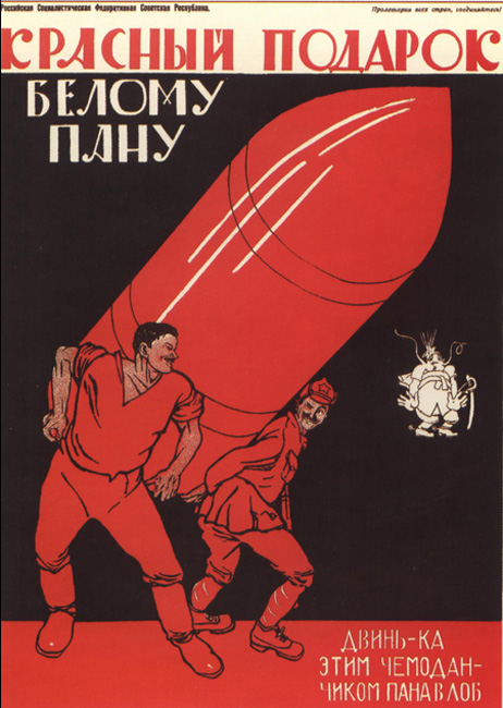 Rdeče darilo belemo panu. Udari ga s kovčkom po glavi! (1920). Številni Moorovi plakati so bili omejeni na rdečo in črno barvo. Z rdečo je označeval revolucionarne elemente, kot so zastave, majice in srajce delavcev.