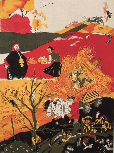 Jesen (1925). Eden od sodobnih ameriških oblikovalcev in ilustratorjev, ki je v delih močno podoben Dmitriju Mooru, je Shepard Fairey.