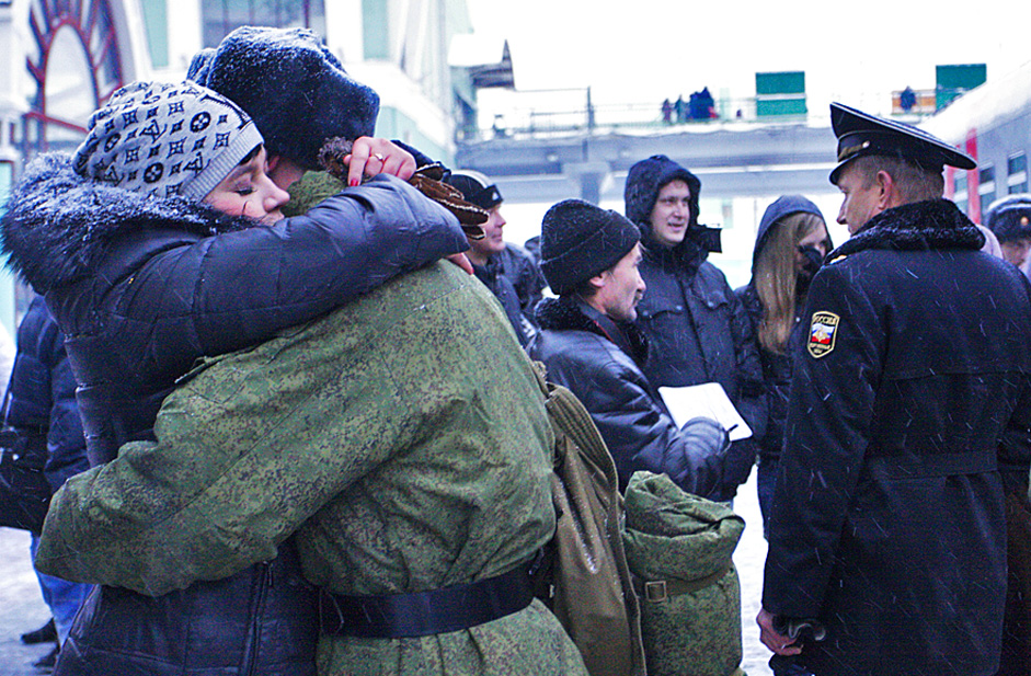 Recruits sent-off to serve in the Presidential regiment, Novosibirsk.