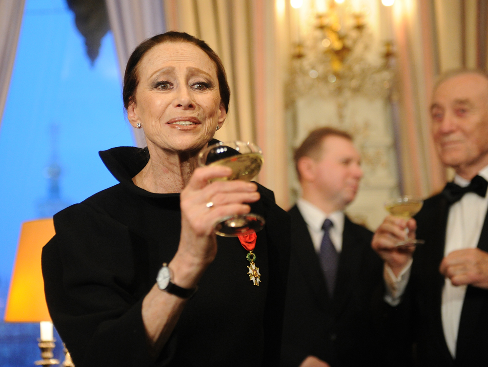"Russia's prominent ballet dancer Maya Plisetskaya has been made an Officer of the Legion of Honour during an award ceremony in French embassy, 2012. Her life and work so far was summarised by the French ballet critic André Philippe Hersin in three words: ""genius, audacity and avant-garde."""