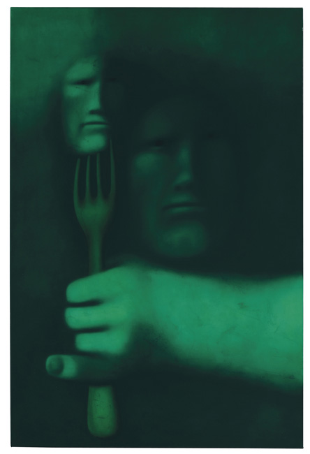 OLEG TSELKOV, PERSON WITH FORK, 1983, oil on canvas, 194.9 x 130.1 cm  // Christie's. Estimate: 70,000 - 90,000 British pounds. Price realized: £127,250