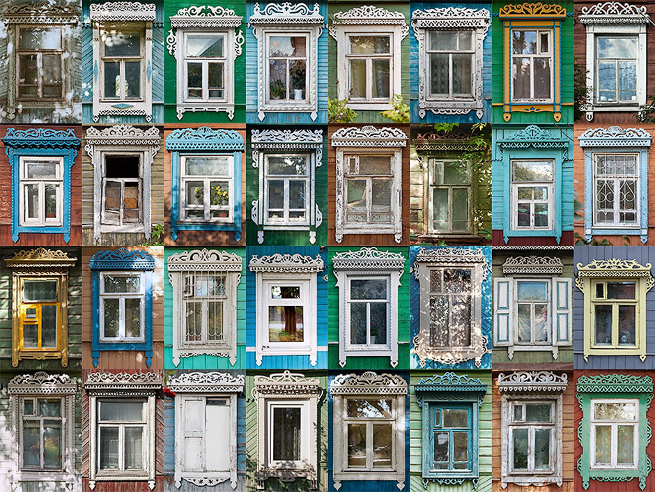 KALUGA's windows are nice, but nothing special remarkable. However, in small towns - local traditions are stronger and the city has maintained its tradition of woodcarving. This project's ultimate goal is to collect pictures of casings from all regions of Russia (and neighboring countries, because such trims are popular also in Belarus and Kazakhstan) and classify it.