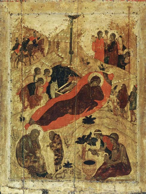 "The nativity of Christ, icon in the Annunciation Cathedral in the Moscow Kremlin, 1405 // Generally,  religious painting were neglected in Russia. The genre of religious painting, performed by such European masters as Da Vinci, Rafael or Boticelli, here was monopolized by the church, so that ""unclerical"" paintings that depicted biblical scenes were totally replaced by the icon painting. Since the very beginning Russian orthodox icon was considered not as a simple image: it was a sacral object and any deviation of canon was not approved. These paintings seem to be rare examples of secular religious painting. Today all of them are devoted to the Nativity of Christ. Merry Christmas!"