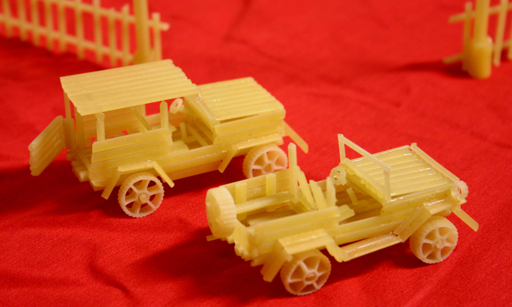 The miniature copies of land, water, and air transport were fabricated for commercial purposes. Sergei constructed his first car out of noodles about five years ago.