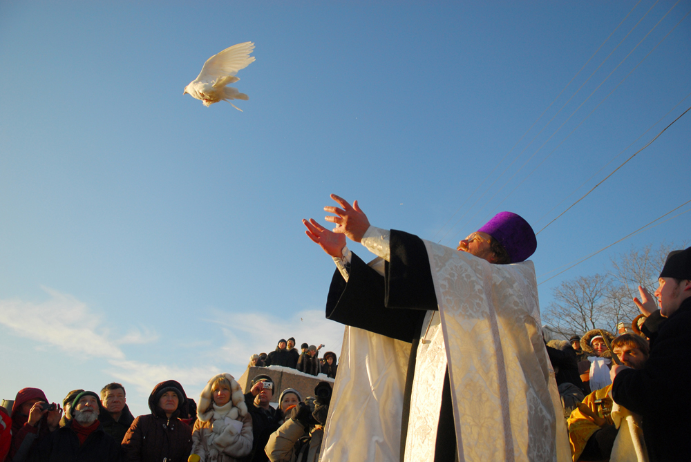 "Russian Orthodox Christians also call this festival the ""Manifestation of God,"" since according to the Gospels, all three part of the Holy Trinity were present in that moment: the voice of God the Father came down from the heavens, the Son of God was christened, and the Holy Spirit came down in the form of a dove. (Saint Petersburg region, Russia)"