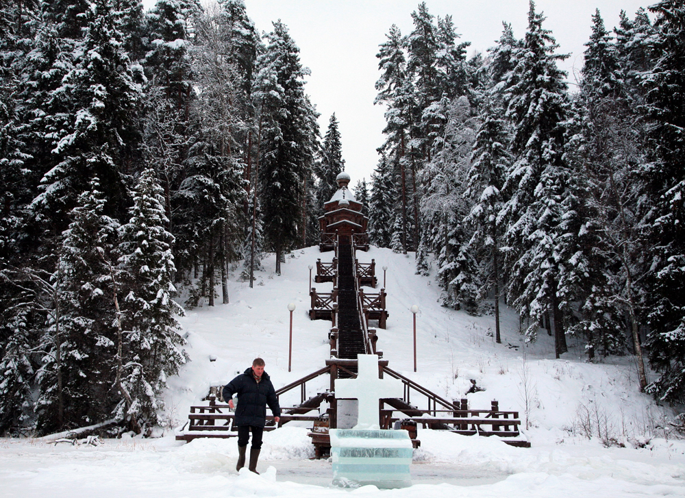 """In Russia the temperature tends to drop around the time of the Epiphany, and both believers and non-believers alike refer to this time of year as the """"Epiphany frosts."""" (Novgorodskaya oblast, Russia)"""