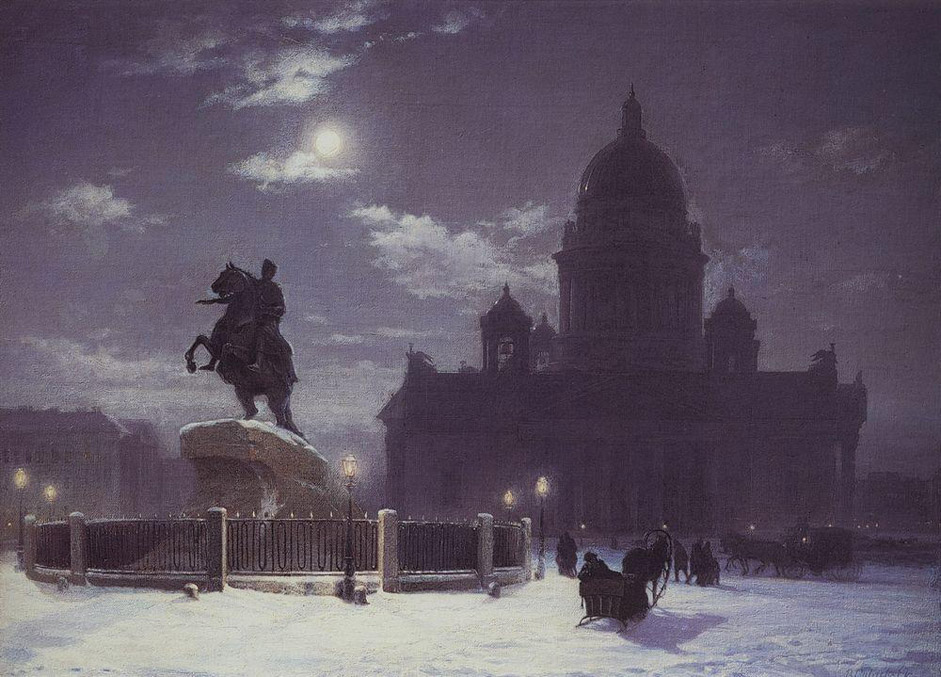 "Vasily Surikov was born in 1848 in Krasnoyarsk. His strong desire to study painting led him first to St. Petersburg, where in the period 1869-1875 he was enrolled at the St. Petersburg Academy. // ""The view of the Peter the Great's monument on the Senatskaya square, Saint-Petersburg"", 1870"