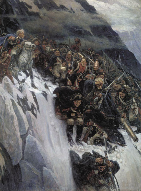 "In 1895, the Council of the Academy awarded him the title of academician. The canvas ""Suvorov Crossing the Alps"", 1899 celebrates the courage and bravery of the Russian army. However, these oeuvres lack the perfection of his masterpieces of the 1880s."