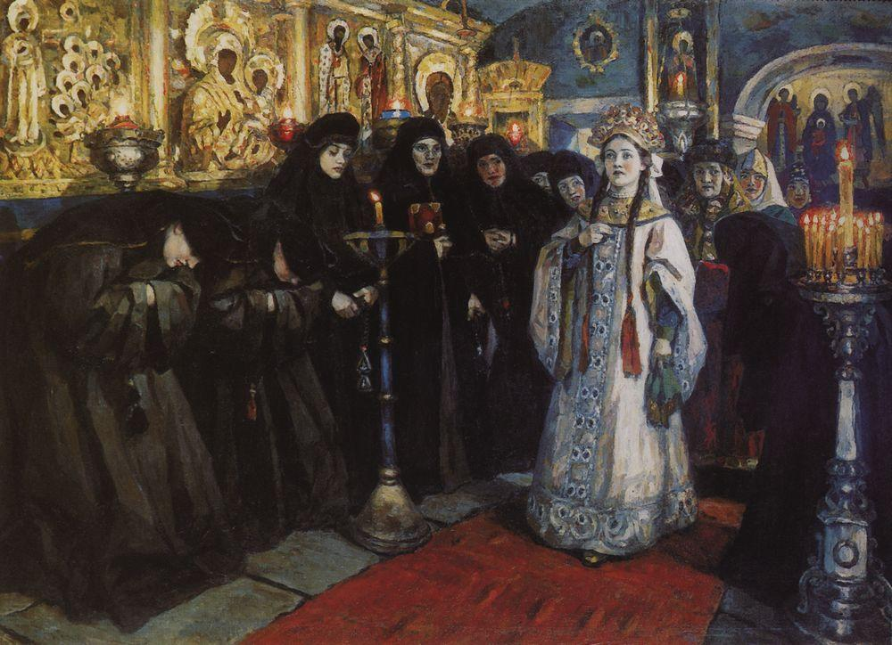 "The main protagonist in these pictures is the Russian people, the masses in all their diversity, laying bare the Russian national character. // ""The princess visiting women's monastery"", 1912"