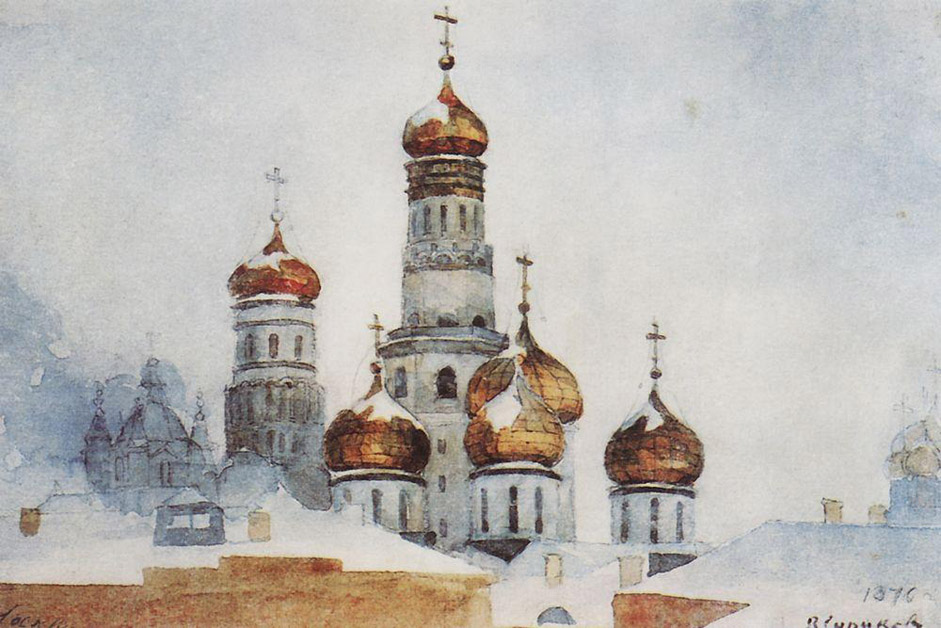 "With great skill and love, this national genius vividly portrays the squares and streets of old Moscow, filled with crowds of people. The artist deftly depicts the intricate detail of clothes, utensils, embroidery, wood carvings, religious architecture, and rural barns. // ""The steeple of Ivan the Great and the dome of Uspensky cathedral"", 1876"