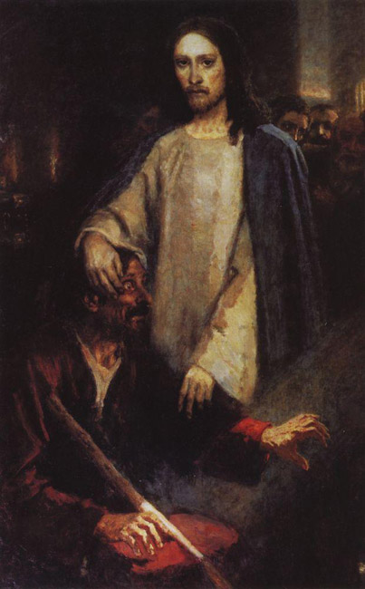 "After the sudden death of his wife in 1888, Surikov fell into a severe depression and lost interest in painting. No one knows the pain and mental anguish he endured. But his will was not broken. The painting ""Jesus Healing a Blind Man,"" 1888, in which the recipient of the miracle betrays a certain likeness to the artist, is peculiarly symbolic of his own enlightenment and revival at that time."