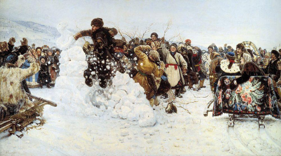 "Having overcome his spiritual angst (following a trip to Siberia in 1889-90), he created the unusually bright and cheerful canvas ""The Taking of Snow Town"", 1891, freeze-framing the classic image of the Russian people, full of daring, health, and joie de vivre."