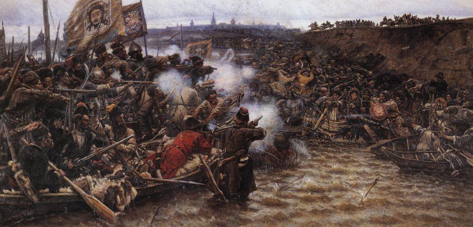 "In his historical paintings of the 1890s, Surikov once again revisits the theme of national history. The painting ""The Conquest of Siberia by Yermak"", 1895, depicts the heroism of Russian warriors in the name of liberating their native land. The painting was presented at the XXIII Traveling Exhibition in St. Petersburg. The exhibition was visited by Tsar Nicholas II and Empress Consort Alexandra, who bought the work for forty thousand rubles. At that time, the country was celebrating the 300th anniversary of the conquest of Siberia and the opening of the Trans-Siberian Railway, so Surikov inadvertently ""hit the spot,"" ending up in the awkward (for him) role of official painter."