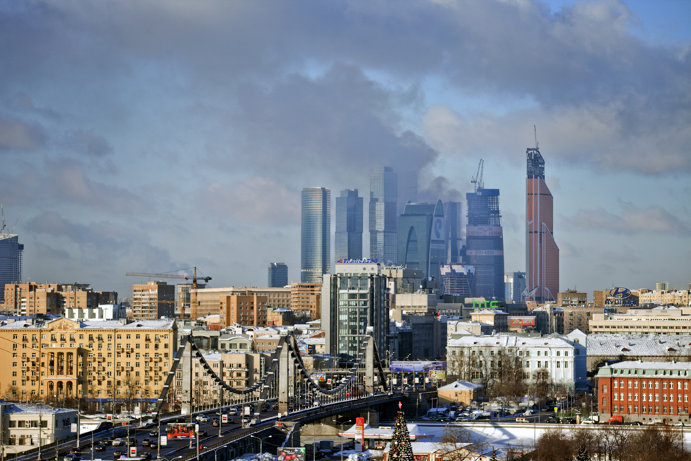 One of the Moscow City business district's skyscrapers is ablaze on January 25, 2013.
