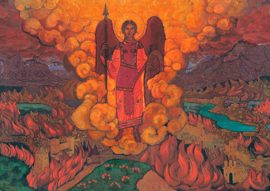 The last angel, 1912 // After finishing the Karl May Gymnasium in 1893, Nicholas Roerich matriculated simultaneously at the law faculty of St. Petersburg University (graduated 1898) and the Imperial Academy of Arts. From 1895, he worked at the studio of the renowned Arkhip Kuindzhi. At that time, he was in close contact with such eminent cultural figures of the time as Stasov, Repin, Rimsky-Korsakov, Grigorovich, and Diaghilev.