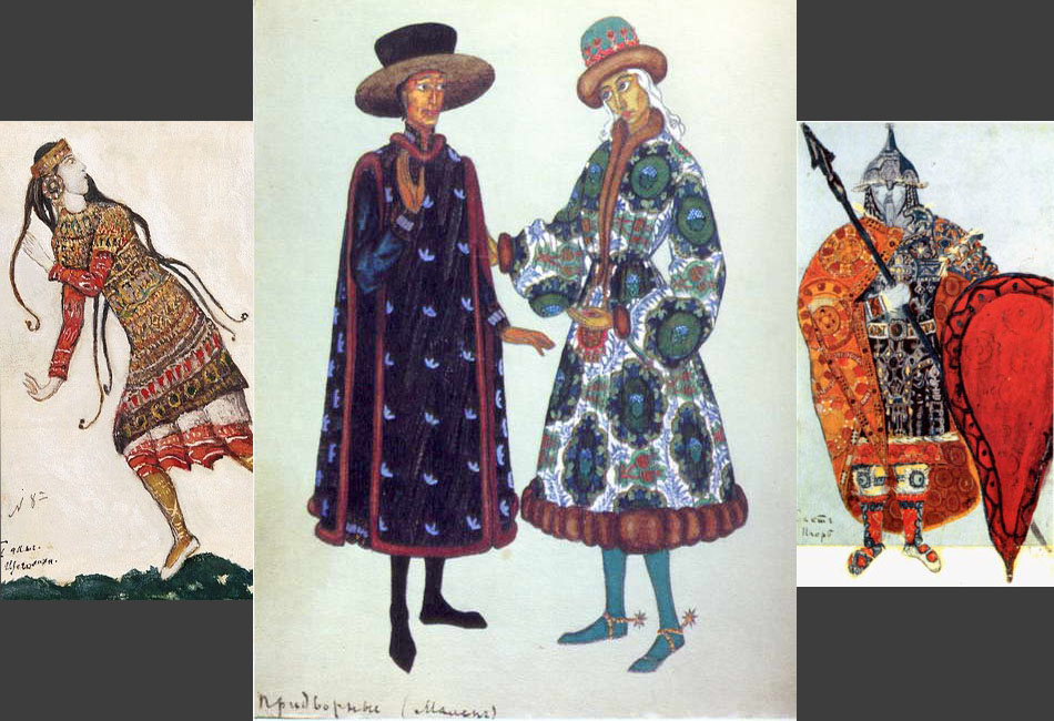 "Sketches for courtiers' costumes, 1912, costumes for the Rite of Spring ballet, 1912, for Prince Igor opera, 1914 // The multifaceted talent of Nicholas Roerich clearly manifested itself in his works for theatrical productions. In Diaghilev's famous ""Russian Seasons,"" the ""Polovtsian Dances"" from Borodin's ""Prince Igor,"" Rimsky-Korsakov's ""The Maid of Pskov,"" and Stravinsky's ballet ""The Rite of Spring"" all featured sets and costumes designed by Roerich."