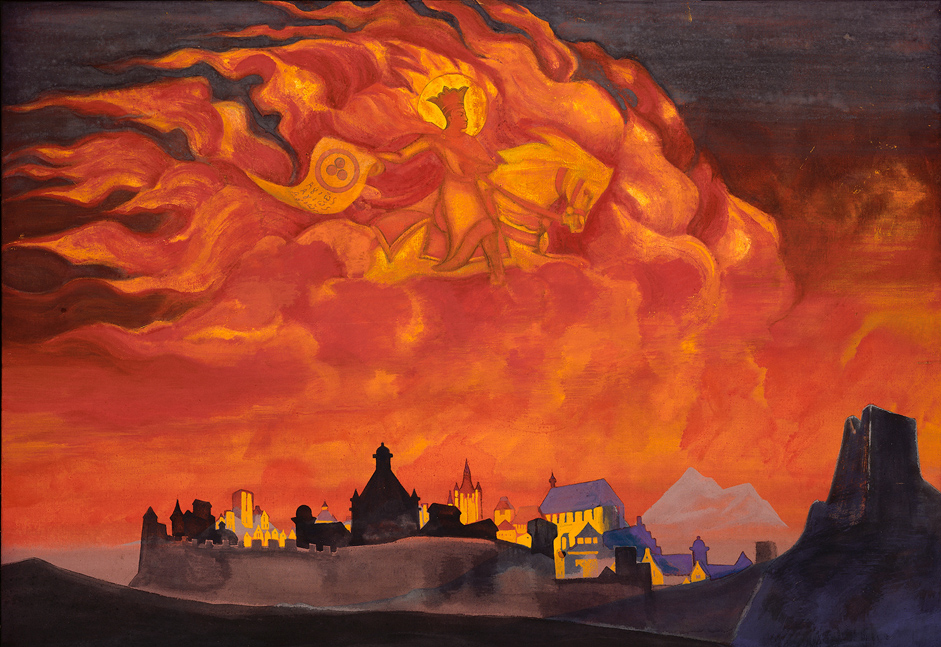 Saint Sophia, the almighty wisdom, 1932 // In May 1917, serious lung disease forced Roerich and his family, at the insistence of his doctors, to move to Sortavala, Finland, on the shores of Lake Ladoga. After the revolutionary upheaval of 1917, Finland closed its borders with Russia, cutting Roerich and his family off from their homeland. In autumn 1919, he accepted an invitation from Diaghilev to work as a set designer for the staging of operas by Mussorgsky and Borodin in London. He accepted and moved with his family to England.
