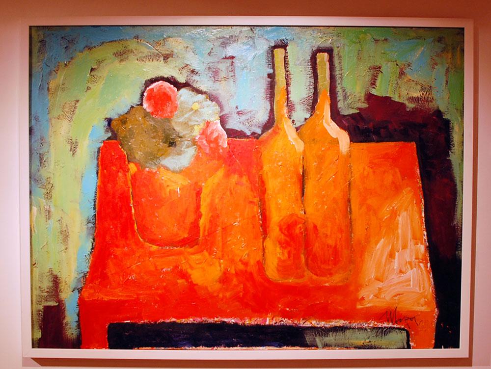 Bouteilles rouges, 2012, huile sur toile.Andreï Sharov.