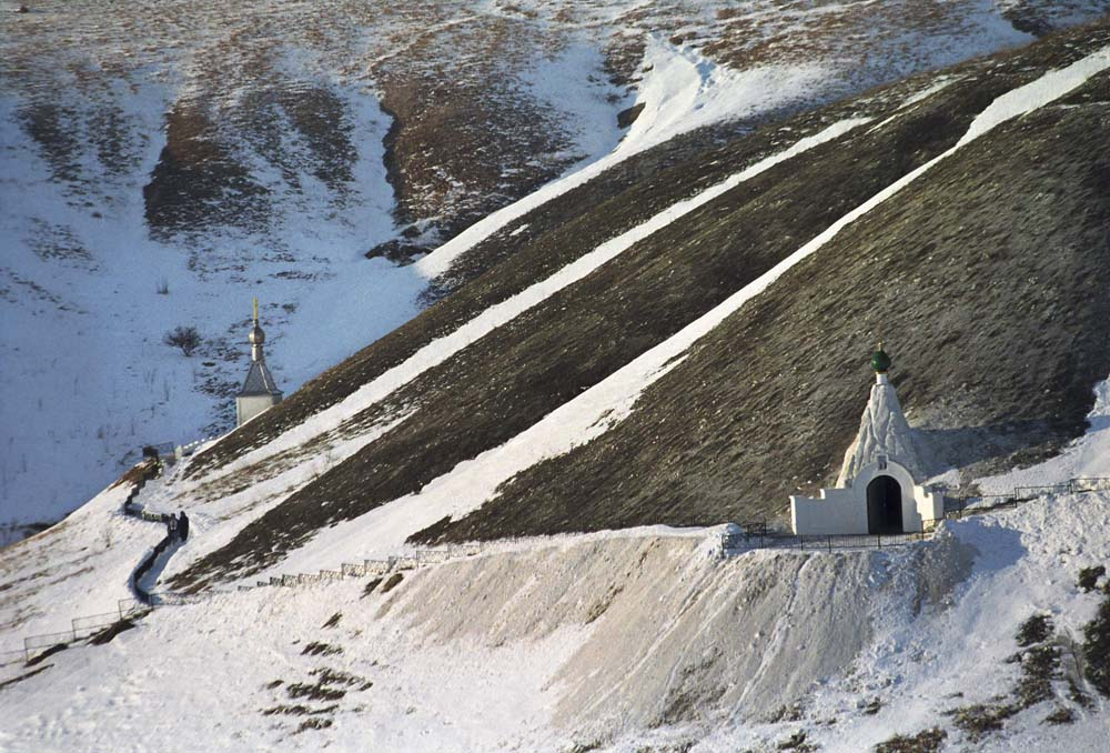 The shelf of Golgotha Mountain. The entrance to Seraphim Sarovsky Cathedral and the Cave of Redemption // Spassky Kostomarovsky Monastery is located near Kostomarovo village.