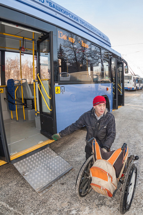 Official presentation of special trolleybuses with wheelchair access in Ufa, Bashkortastan.