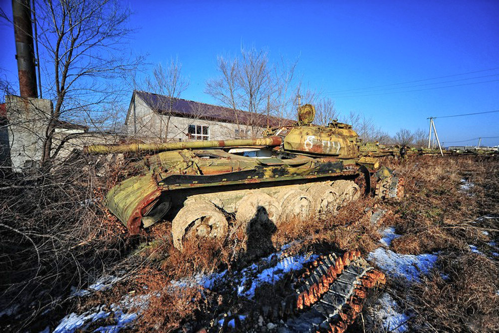 The surrounding region is home to old tanks from the 1970s and relatively new combat vehicles brought here from the Kuril Islands.