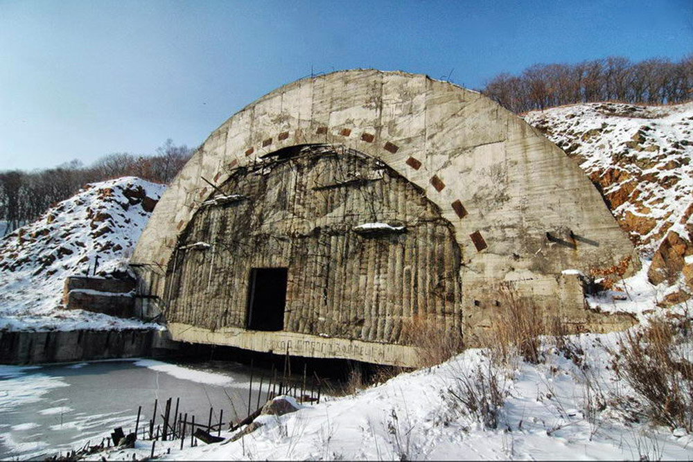 In the event of a nuclear attack, Soviet submarines were to approach these gates. This unique bomb shelter was built to withstand a direct hit by a nuclear bomb. Now the main threat to this Far Eastern facility comes from metal thieves.