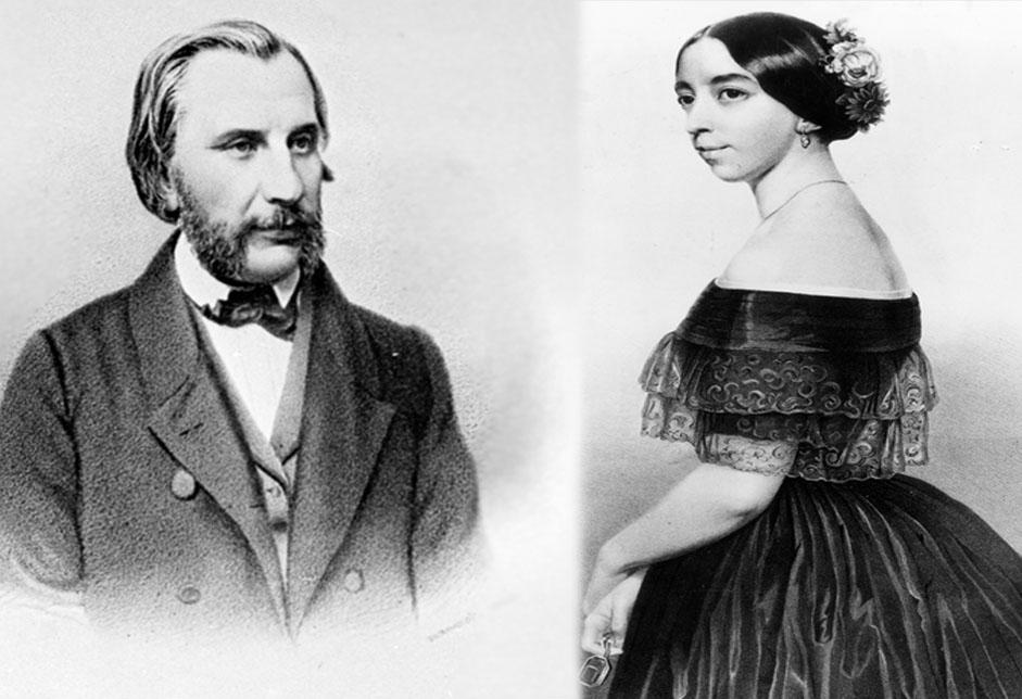 イワン・ツルゲーネフとポーリーヌ・ヴィアルド // ポーリーヌ・ヴィアルドは丸まった肩と男らしい容貌の顔つきが特徴で、とても美貌とはいえなかった。しかし彼女が歌い始めると、何もかもが美しく変容するのだった。1843年にロシアで『セビリアの理髪師』の上演を耳にしたイワン・ツルゲーネフが、魔法のように彼女の虜になったのは、もしかするとそれが理由なのかもしれない。イワンは彼女の夫でもなかったが、生涯彼女を崇拝し続けた。1845年、彼はポーリーヌを追ってロシアを去り、結果的にヴィアルド家に身を置き、彼女の4人の子どもを我が子のようにかわいがった。それに対し、彼女は彼の作品を批評し、自身のコネや社交能力を駆使することで、公共の場では常に彼に脚光が浴びるよう支援した。