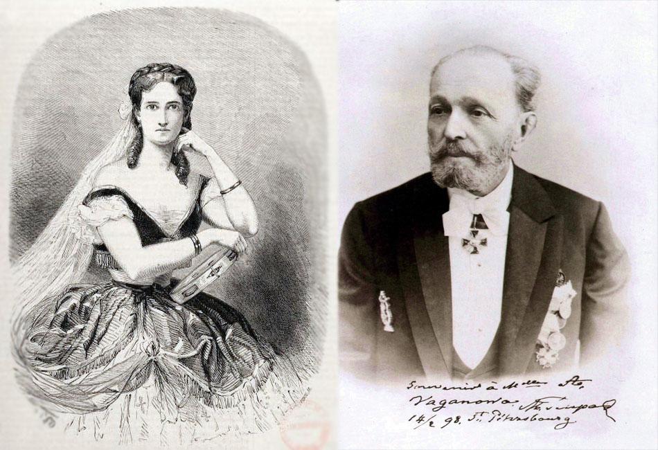 マリウス・プティパとマリア・スロフシュチコーワ // マリア・スロフシュチコーワはサンクトペテルブルの帝室バレエ学校でバレエを学び、1854年に卒業した。同校を卒業後、彼女は帝室ボリショイ・カーメンヌイ劇場のコール・ド・バレエに入団し、1854年には当時サンクトペテルブルクの帝室劇場でプリンシパル・ダンサーを務めていたマリウス・プティパと結婚した。フランス・ロシア系のバレエダンサー、監督、振付師として活躍したプティパは、バレエ史上最も影響を与えたバレエマスターおよび振付師とみなされている。