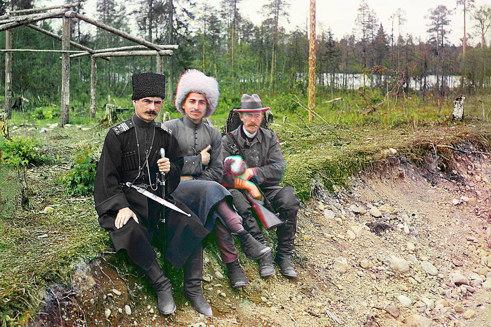 Group. (Myself with two others, Murmansk). 1915 //  Sergey Prokudin-Gorsky, pictured third from L-R, was a Russian chemist and photographer. He is best known for his pioneering work in color photography.