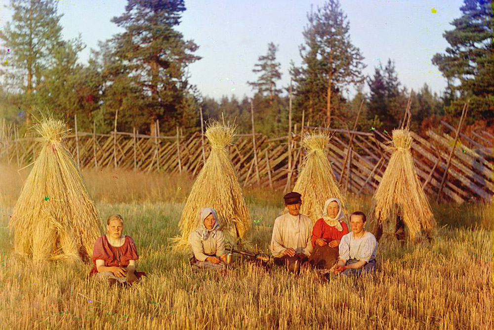 At harvest time. 1909 // After the October Revolution, Prokudin-Gorsky was appointed to a new professorship under the new regime, but he left Soviet Russia in August 1918.