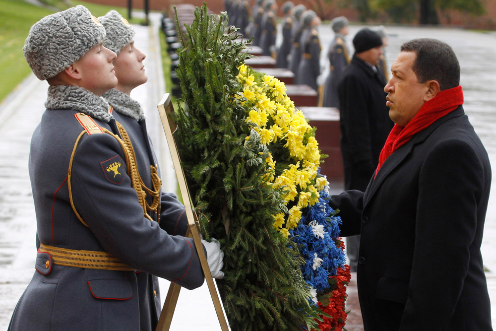 Hugo Chavez takes part in a wreath-laying ceremony at the Tomb of the Unknown Soldier in Moscow, Russia. October, 2010. // On March 6, 2013, Russian President Vladimir Putin said that Chavez was a close friend to Russia. Russian UN Ambassador Vitaly Churkin said that Russians feel very badly about his death.